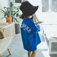 童装2018秋季新款女宝韩版棉T恤宽松中长款卫衣女童打底衫裙子 蓝色