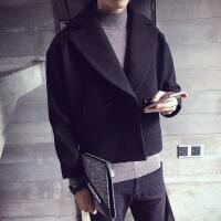 风衣男春秋短款外套2018新款韩版发型师毛呢大衣翻领褂子潮流披风