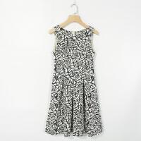 05068女装精品新款后隐形拉链圆领有弹性显瘦女提花无袖连衣裙