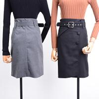 2018FSK25秋冬韩版修身显瘦纯色高腰半身裙