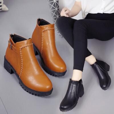 【包邮】2017春季新款短靴女圆头马丁靴粗跟中跟女鞋加绒加大码女靴88888ML