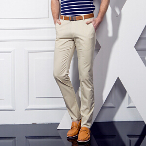 1号牛仔 春季亚麻休闲裤子春款男士直筒棉麻裤潮韩版修身长裤
