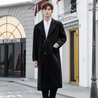 2018秋冬季风衣男韩版中长款学生修身帅气超长过膝毛呢子大衣外套