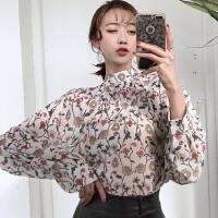 初春韩版chic半高领个性系带复古小碎花雪纺衫上衣百搭长袖打底衫