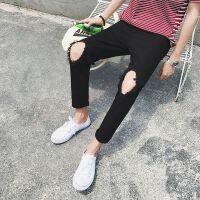 夏季权志龙同款日系膝盖破洞牛仔九分裤ulzzang黑色弹力小脚裤男