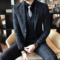 新款2018秋冬发型师西装男生休闲版格子单排扣西服结婚西装三件套
