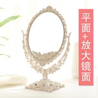 化妆镜 台式化妆镜子简约容镜梳妆镜子便携双面大号公主镜送女生生日节日礼物 特(平面+放大)