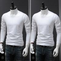 秋季新款纯色长袖T恤男士上衣棉圆领修身打底衫纯黑色男生秋衣