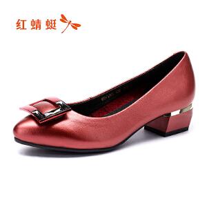 红蜻蜓女鞋秋冬休闲鞋鞋子女高跟鞋WNB7430