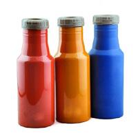 普润 500ML双层不锈钢真空保温杯翻盖可乐瓶杯子蓝色