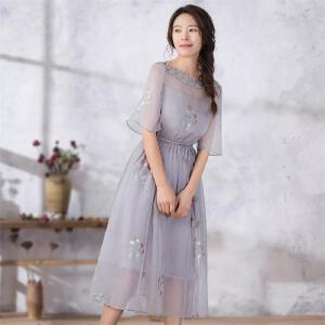 烟花烫 2018夏装新款女装气质绣花系带中长款连衣裙 燕轻