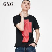 【GXG过年不打烊】GXG男装 春季男士黑色时尚修身休闲都市圆领T恤潮流短袖t恤