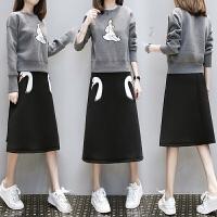 2018冬装新款胖MM大码女装洋气减龄天鹅刺绣卫衣套装连衣裙两件套