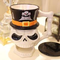 仟度彩绘骷髅头杯 时尚个性马克杯 创意搞怪水杯 *品陶瓷杯子