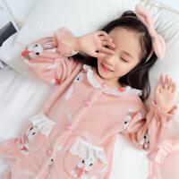 儿童法兰绒睡衣加厚款小女孩宝宝卡通公主女童珊瑚绒家居服秋冬季