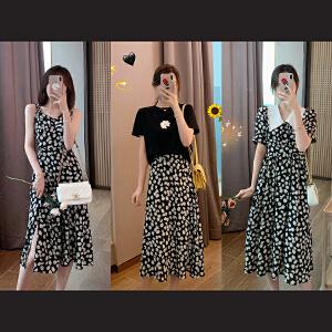 安妮纯法国小众小香风连衣裙女2020春季新款韩版收腰显瘦假两件雪纺裙子