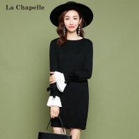 拉夏贝尔2017冬季新款韩版宽松连衣裙圆领套头纯色针织衫女士显瘦