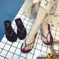 简约人字拖女夏季时尚海边防滑夹脚沙滩平底跟外穿凉拖鞋韩版 黑色 平跟/标准码