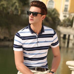 2019中年男士短袖t恤 男装夏季翻领纯棉条纹POLO衫半袖爸爸装潮