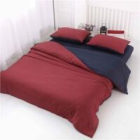 简约纯色床上用品 1.5m磨毛床单被套4三件套1.8米全棉四件套