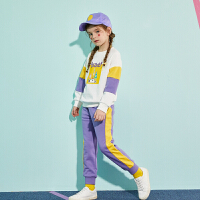 【2件3折:138.9】巴拉巴拉旗下巴帝巴帝女童卫衣套装2020春季新款儿童运动服拼色两件套女