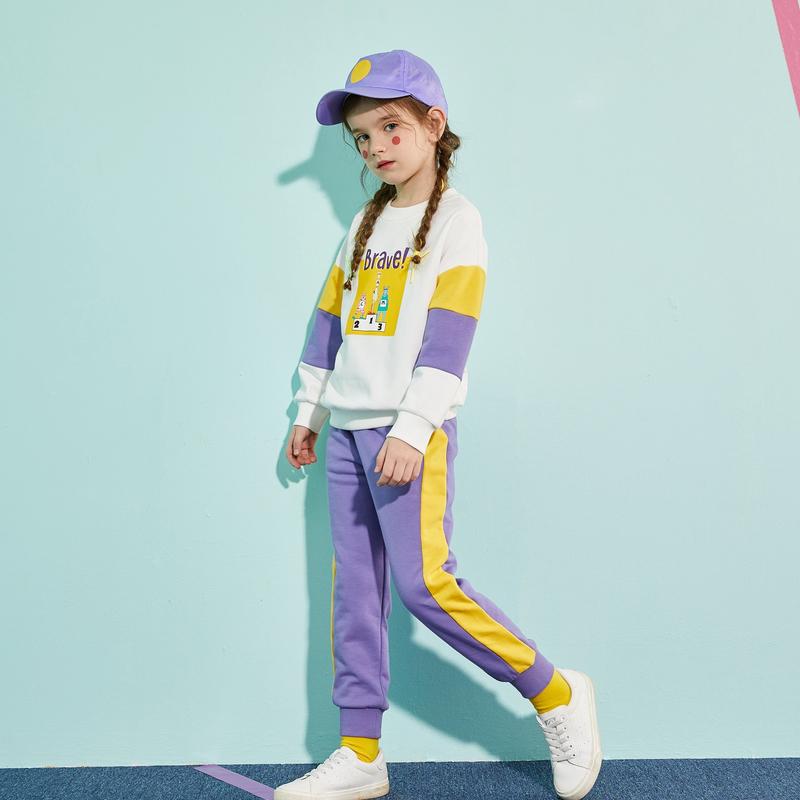 【春新品2件4折:139】巴拉巴拉旗下巴帝巴帝女童卫衣套装2020春季新款儿童运动服拼色两件套女