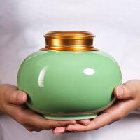 龙泉青瓷合金盖陶瓷茶叶罐大号红茶绿茶密封罐通用家用茶叶包装盒