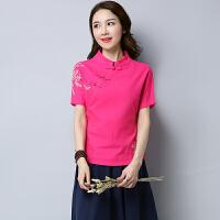 棉麻唐装夏装新款民族风女装修身显瘦短袖百搭绣花中国风上衣