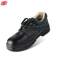 谋福 劳保鞋安全鞋工作鞋包钢头防滑耐磨透气耐磨防滑 牛皮鞋黑色