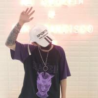 韩国INS同款紫色超人印花插肩短袖T恤 男女款