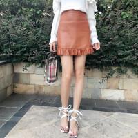 【拍下10】韩版纯色高腰下摆木耳边PU皮裙半身裙女显瘦百搭短裙