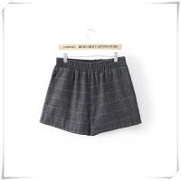 加肥加大码冬季毛呢短裤女胖mm秋冬200斤外穿宽松格子阔腿裤