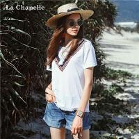 白色短袖t恤女士拉夏贝尔夏装新款民族风绣花小心机上衣小清新10012782