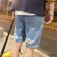 港风复古破洞男士夏季五分裤韩版潮男牛仔裤短裤2018新款林弯弯