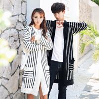 新款18秋冬装男士潮流条纹开衫中长款针织衫韩版修身青年男女情侣