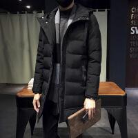 2018秋季风衣男中长款韩版潮流宽松帅气加厚外套男装连帽夹克外衣 加厚