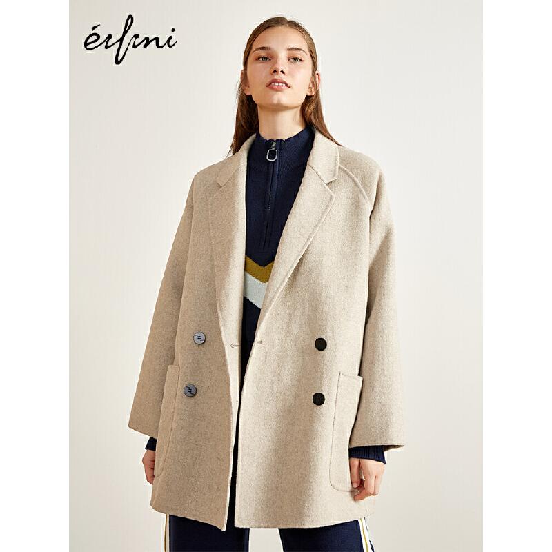 2件4折 伊芙丽2018冬装新款中长款毛呢外套宽松羊毛双面呢大衣女