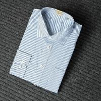 国内单 剪标男装条纹衬衫男长袖商务正装上班工装素色长袖衬衣