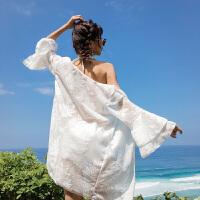性感泳衣女士平角比基尼三件套白色泡温泉韩国小香风小胸聚拢泳装 白色