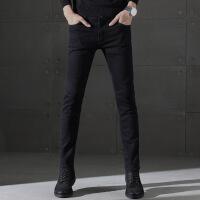 黑色男士牛仔裤男加绒秋冬季韩版修身潮流2018新款小脚裤休闲裤子
