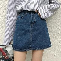 韩版牛仔半身裙女高腰显瘦百搭纯色水洗复古牛仔裙短裙学生A字裙