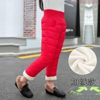儿童羽绒棉裤冬季加绒加厚宝宝裤子小童高腰外穿男童女童长裤保暖 加绒款 红色