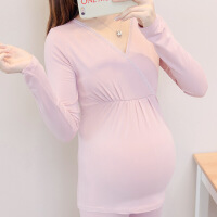 孕妇哺乳秋衣单件打底上衣贴身弹力产后喂奶衣薄款保暖内衣月子服