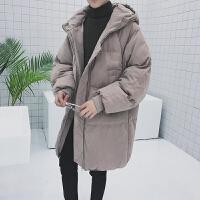 宽松嘻哈风棉衣男生带帽时尚保暖袄子冬装加长外套