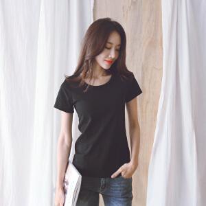 安妮纯夏季韩版T恤2019新款女装纯色大圆领高弹力棉女式短袖上衣