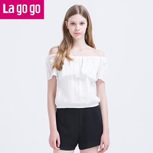 【每满200减100】Lagogo/拉谷谷16年夏季新款时尚个性一字肩修身上衣time:4.17~4.23