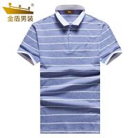 金盾男装休闲短袖t恤男衬衫领夏季新款polo衫青年男士条纹体恤潮