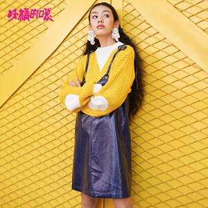 【低至1折起】妖精的口袋吊带无袖v领短裙秋装2018新款韩版紫色背带连衣裙女