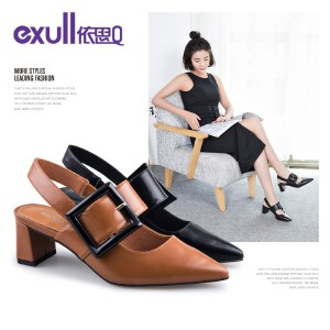 Exull依思Q秋季新款时尚优雅尖头空鞋百搭粗跟高跟单鞋女