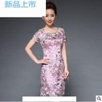 婚礼妈妈装结婚礼服中年显瘦修身绣花30-40岁连衣裙秋